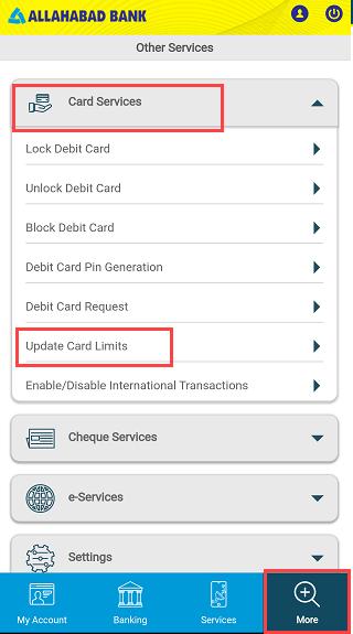 Allahabad Bank ATM/Debit Card Limit