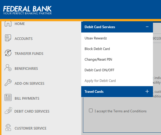 Apply Federal Bank Debit Card Online