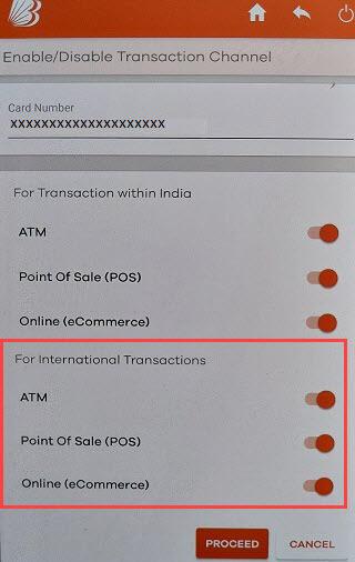 Bank of Baroda activate international transactions debit card