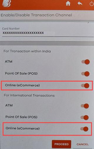 Bank of Baroda Debit card online usage