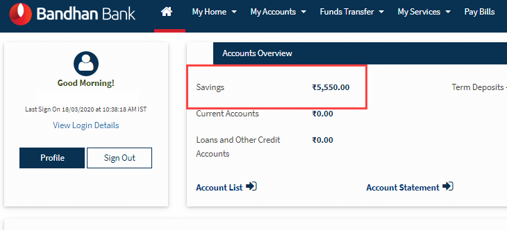check bandhan bank account balance