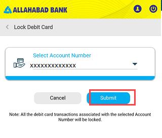 Lock/Unlock Allahabad ATM Debit Card
