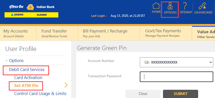 Indian Bank ATM PIN Generation Online