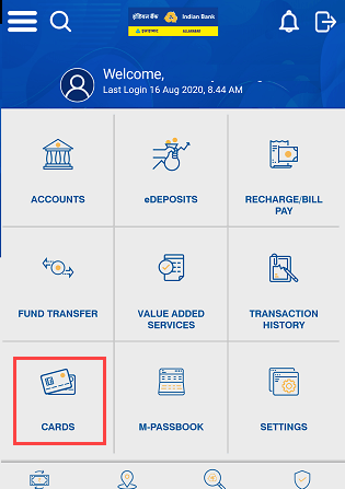 Indian Bank Card services