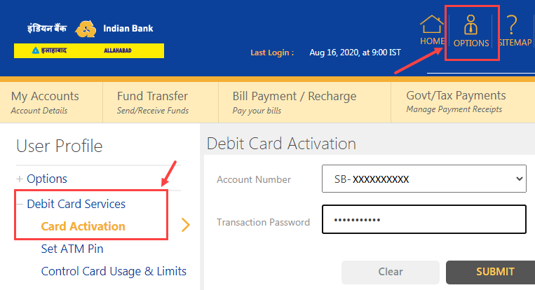activate indian bank atm/debit card