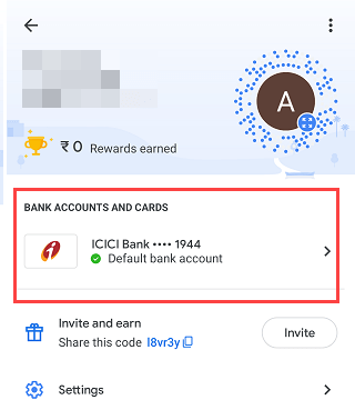 google pay bank account list