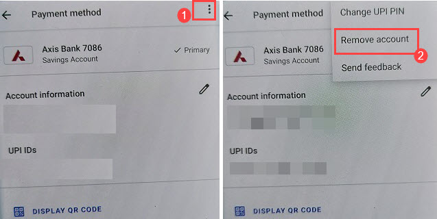 google pay remove bank account