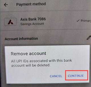 google pay remove bank account