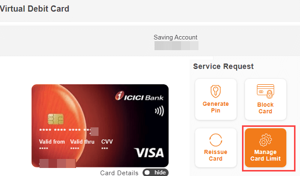ICICI net banking  manage debit card