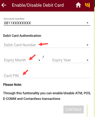 PNB Mobile Banking enable disable Debit card