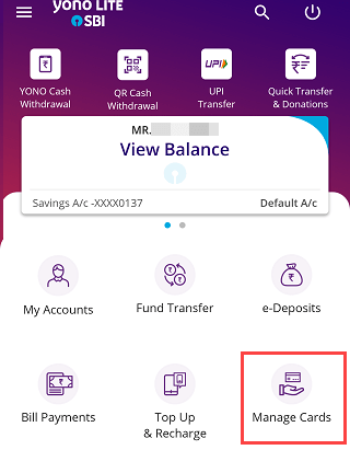 SBI YONO Lite manage cards