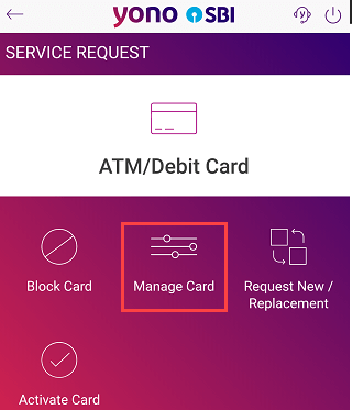 SBI yono manage card