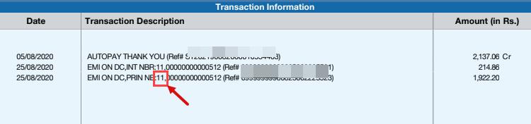 HDFC Debit Card EMI Loan Statement