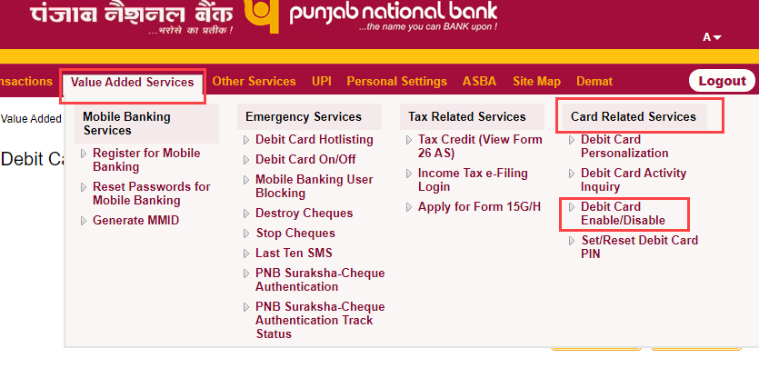 PNB net banking enable.disable debit card