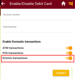 PNB Mobile Banking enable online transactions Debit card