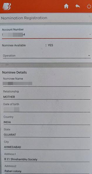 Bank of Baroda add nominee