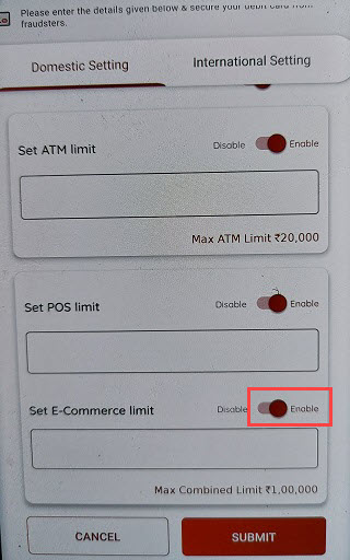 South Indian Bank online transactions Debit card