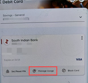 South Indian Bank Manage Debit card
