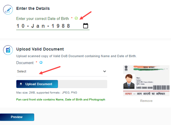 aadhaar card date of birth online update change