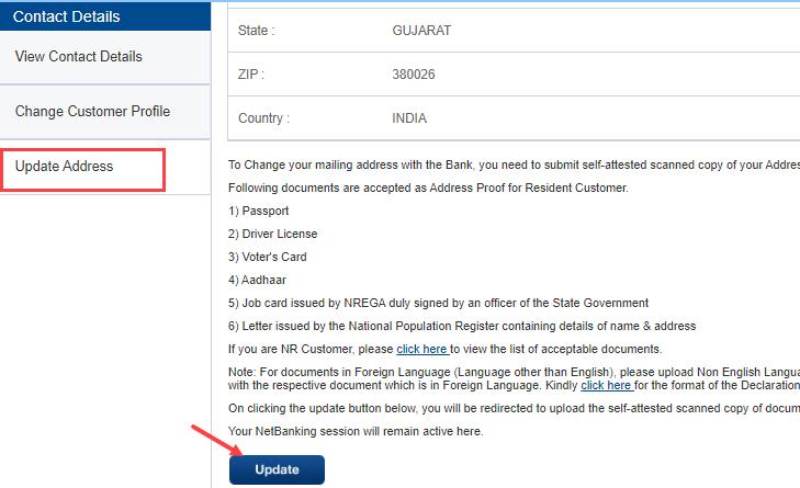 HDFC bank change update address
