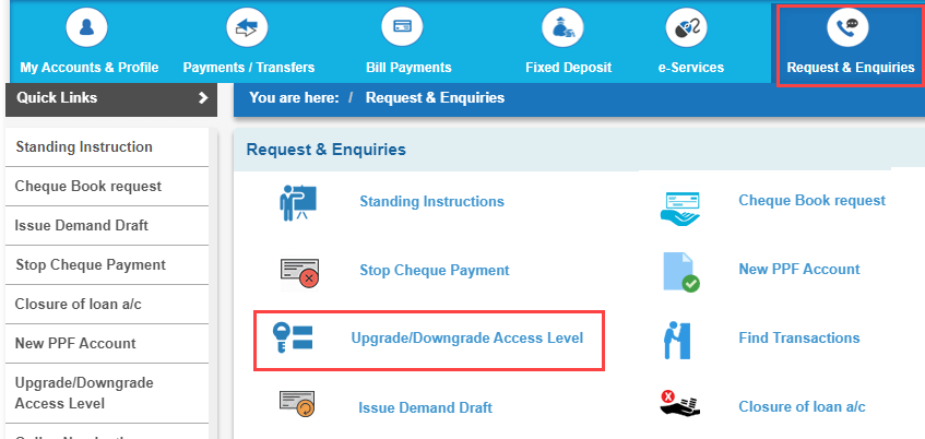 SBI net banking access level
