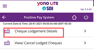 SBI Cheque Details to Positive Pay System (PPS) Online