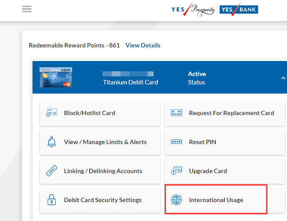 Yes Bank international usage